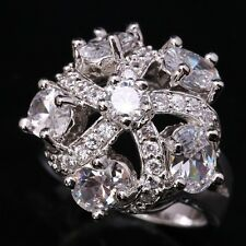 Flowers White Topaz & Zircon Gems Fashion Silver Rings US#Size5 6 7 8 9 B3707