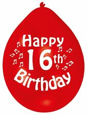 """Happy 16th Birthday 9"""" Party Balloons Colour CHOOSE YOUR QUANTITY"""