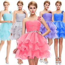 Womens Short One shoulder Organza Ball Cocktail Evening Prom Party Dress Wedding