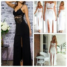 Vogue Women Lace Backless Strap Slit BodyCon Cocktail Party Club Long Maxi Dress