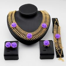 18K Gold Plated  Flower Bracelet Ring Earrings Statement Necklace Jewelry Sets