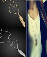 Women Feather Pendant Long Chain Necklace Sweater Statement Vintage Jewelry CHI