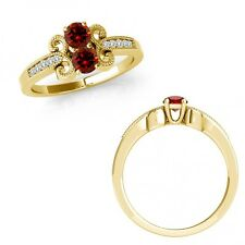 1.15 Ct Red Diamond 2 Two Stone Fancy Filigree Victorian Ring 14K Yellow Gold