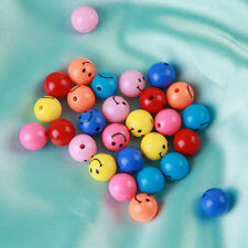 100/250pcs Wholesale Random Mixed Smile Style Round Spacer Acrylic Beads Bulk BS