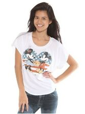 Disney Mickey & Minnie Mouse Holding Hands in American Flag Heart Crop Top Shirt