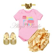 Infant Baby Girls 1st Birthday Outfit Princess Romper Jumpsuit Pants Clothes Set