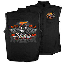 2015 Sturgis Motorcycle Rally Downwing EAGLE black Sleeveless Denim shirt