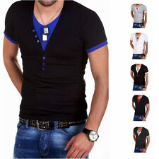 Mens T-Shirt Short Sleeve V-Neck Solid Casual Slim Fit T-shirts Cotton 6Colors