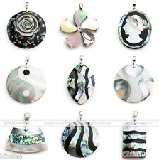 Natural Paua Abalone Mother Of Pearl MOP Shell Bead Pendant Charm Fit Necklace
