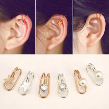 Gold Plated Ear Cuff Non Piercing Silver Cartilage Earrings Wrap Clip On Jewelry