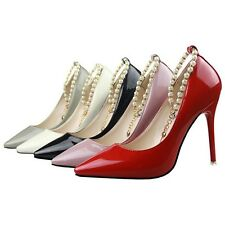 Pointed Toe Stilettos Pearls Ankle Strap Chain Classics Pumps Heels Women Shoes