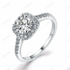 Fashion Cubic Zirconia Wedding Ring 18K White Gold Plated Women Engagement Gift