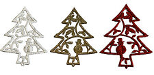Pack of 4 Glitter Trees Hanging Christmas Tree Decoration RED SILVER GOLD