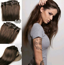 #4 Brown Fashion hot Clip In Remy 100% Human Hair Extension Straight 7PCS 70G