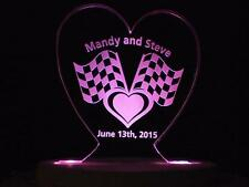 Personalized Racing Car Wedding Cake Topper Race Fans Cake Topper Opt LED Light