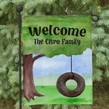 Personalized Welcome Garden Flag Family Name Tire Swing Garden Yard Flag Decor