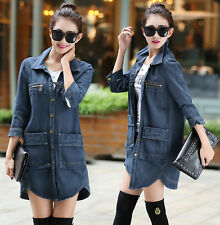Ladies Classic Military Denim Jacket Jean Trench Coat Long Sleeve Parka Slim