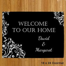 Personalized Welcome Doormat Custom Black Fancy Design Doormat Couples Door Mat