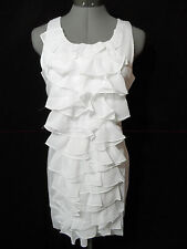 Nwt MINUET Tiered Chiffon Ruffle Dress women M White Frilly Spring Formal Tuxedo
