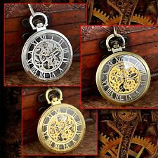 Vintage Antique Steampunk Mechanical Skeleton Pocket Watch Chain Retro Roman New