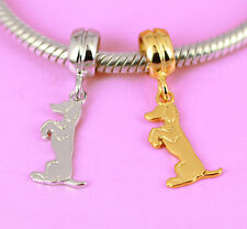 SOLID Sterling Silver Rhodium or Vermeil Gold Dog Puppy Bead Fit Charm Bracelet