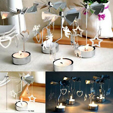 Rotating Spinning T Tea Light Holder Christmas Candle Table Decorate Carousel SY