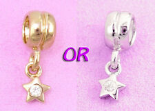 SOLID Sterling Silver Cz Wishing STAR Charm Bead / Pendant Fit Bracelet / Chain