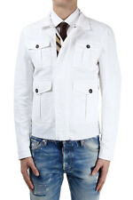 DSQUARED2 Men New Bianco Cotton Blended Jacket Calf Insert Made in Italy