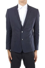 DOLCE & GABBANA Man blue pinstri single-breasted single-vent lined made italy