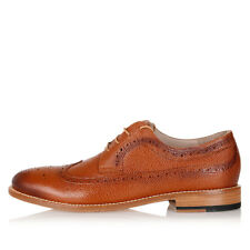 CORNELIANI Men Brown Printed Leather Brogue Derby Shoes Made in Italy