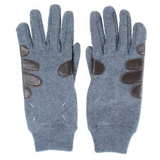 MARTIN MARGIELA MM14 men new blue Leather Wool knitted Gloves made in italy