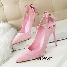 Women Shoes Bowknot Hollow Out Pointed Toe High Heel Stilettos Suede Party Pumps
