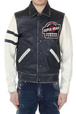 DIESEL Men New Blue White Cowhide Leather Jacket with Embroidery Original