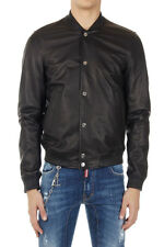 DSQUARED2 Dsquared² Men Black Leather Bomber Jacket with Buttons New Original