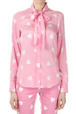 MOSCHINO COUTURE! Women Pink Hearts Patterned Silk Shirt with Ribbon Italy Made