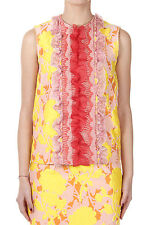 MIU MIU Women New Multicolor Embossed Fabric CLOQUET Top with Inserts Made Italy