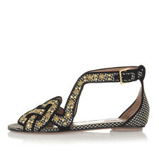 ALAÏA Women Black Leather Sandals Shoes with Metal Inserts Made in Italy New