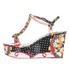 DOLCE & GABBANA Women Patent Leather Floral Printed Wedge Sandals Italy Made