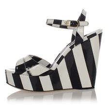 DOLCE & GABBANA Women Striped Patent Leather Wedge Sandals Made in Italy