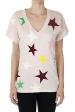 STELLA MCCARTNEY Women Pink Cotton Stars Printed T-Shirt Made in Italy New