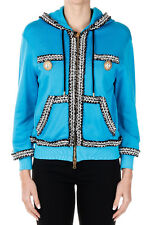 MOSCHINO COUTURE! Women Blue Hooded Cotton Mixed Sweatshirt Made in Italy