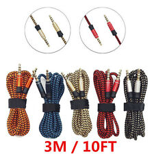 3M/10FT Braided Fabric 3.5mm Male to Male Stereo Audio AUX Auxiliary Cable Lot