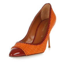 SERGIO ROSSI Women Orange Woven Leather Pump Shoes Made in Italy New