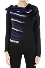 EMPORIO ARMANI Women New Black Knitted Wool Blend Striped Sweater Italy MAde