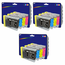 3 Sets of Compatible Printer Ink Cartridges for Brother LC970 / LC1000 Range