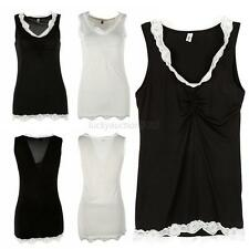 Sexy Women Lace Sleeveless Blouse Deep V Neck Tee T-shirt Top Cami Tank Top Vest