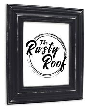 Wide Distressed Black Picture Frame - Solid Wood