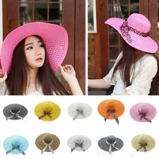 Elegant Women Lady Floppy Derby Straw Hat Wide Large Brim Sun Summer Beach Hat