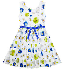 Sunny Fashion Girls Dress Plaid Checkered Tulle Floral Printed Dot Belt Size 2-6