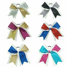 "7"" Ribbon Glitter Cheer Bows Sparkly Hair Bows Ponytail Holder Cheerleading Girl"